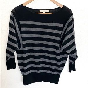 Loft Batwing Black And Gray Sleeve Striped Top
